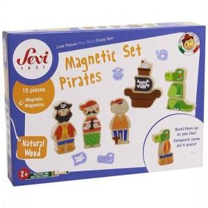Sevi Houten Figuren Piraten Magnetisch 15-delig