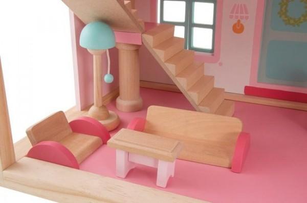 Sevi poppenhuis meisjes roze houten poppenhuis houten for Poppenhuis meisje